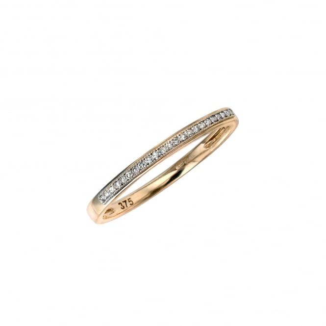 Delicate 9ct Yellow Gold 2mm Wide Diamond Band Ring
