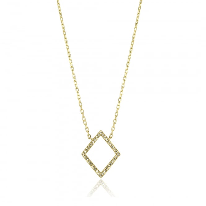 Delicate Yellow Gold Geometric Diamond Stacking Necklace