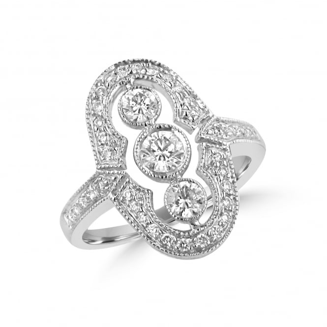 Diamond Deco Inspired Ring Total 0.65ct