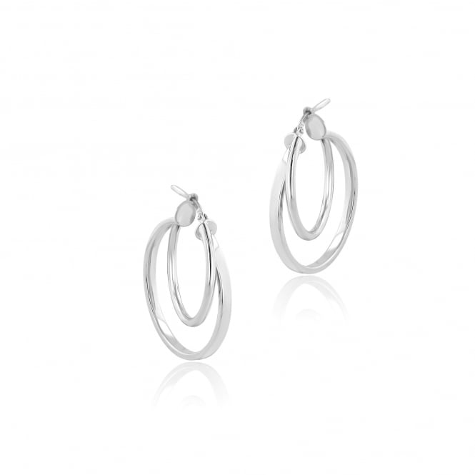 Double Hoop Silver Earrings ESW36158