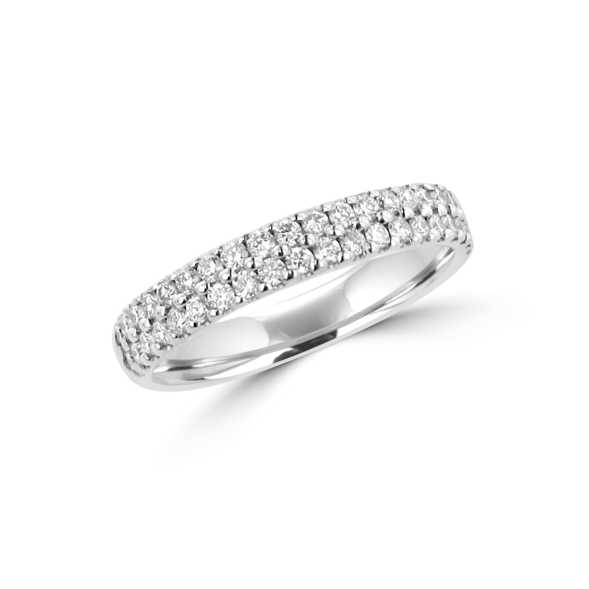 in engagement ring rings shank diamond pave double white uneek gold oval three stone silhouette with