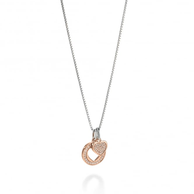 Fiorelli Rose Gold Plated on Silver Double Heart Necklace P3950C
