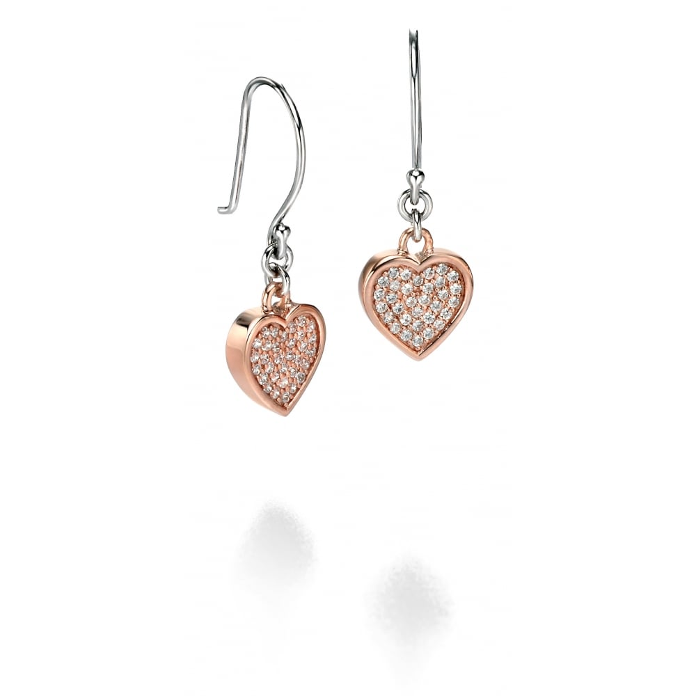 918b71243db43 Fiorelli Silver Rose Plated Pave Set Cubic Zirconia Heart Drop Earrings  E4674C