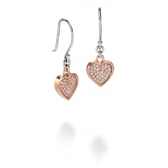 Rose Plated Pave Set Cubic Zirconia Heart Drop Earrings E4674C
