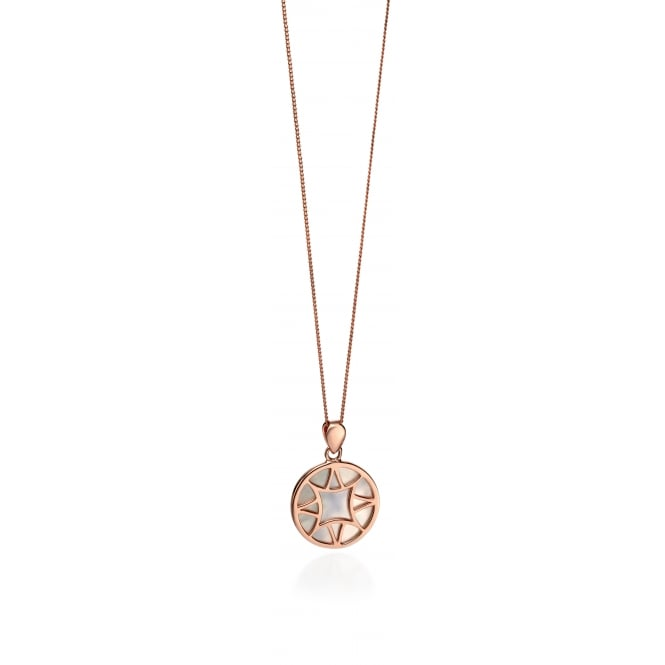 Fiorelli Rose Plated Round Mother Of Pearl Necklace P4227W