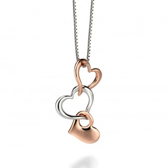 Fiorelli Rose Plated Silver Triple Heart Necklace P4121