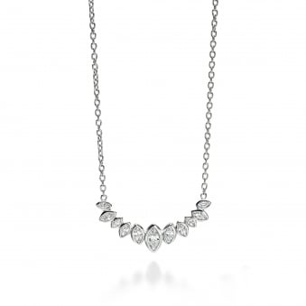 Fiorelli Silver 11 Stone Marquise Necklet N3906C