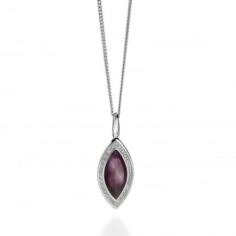 Fiorelli Silver Amethyst Marquise Pendant With Cubic Zirconia P4241M