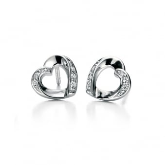 Fiorelli Silver and Cubic Zirconia Heart Earrings E5085C