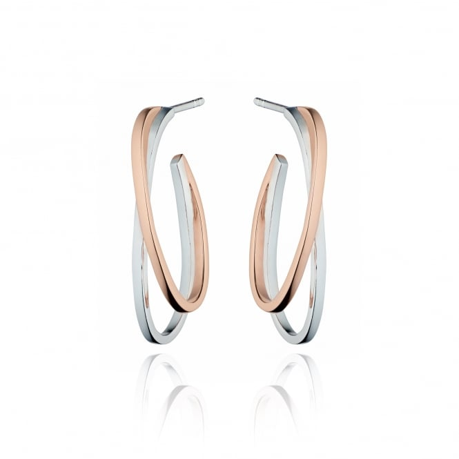 Fiorelli Silver and Rose Plated Double Hoop Earrings E5194 (ESW36142)
