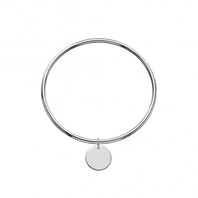 Fiorelli Silver Bangle with Engravable Round Disc Charm LS3638
