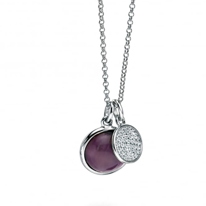 Fiorelli Silver Double Drop Stone Necklace P4239M