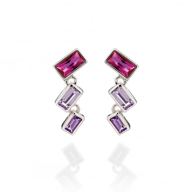 Fiorelli Silver Earrings With Pink and Purple Crystal E5186