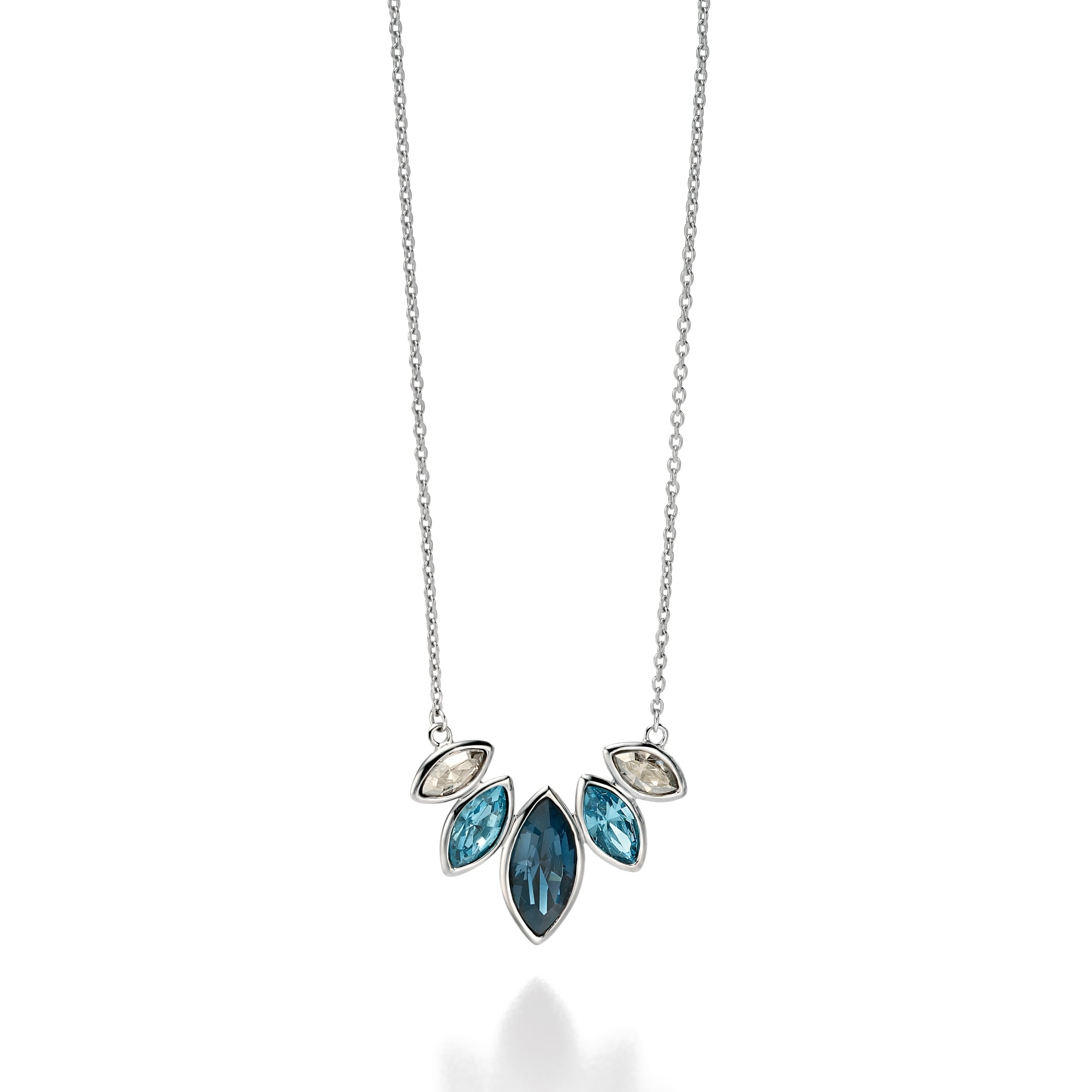c10b1ee4f85 Fiorelli Silver Necklace Set With Various Blue Shades of Swarovski Crystal