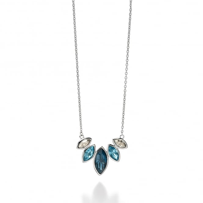 Fiorelli Silver Necklace Set With Various Blue Shades of Swarovski Crystal N3719
