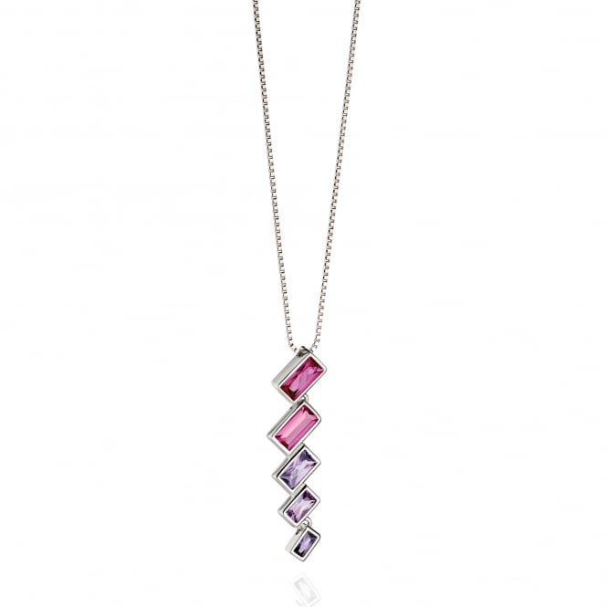 Fiorelli Silver Necklace with Pink and Purple Crystals P4389