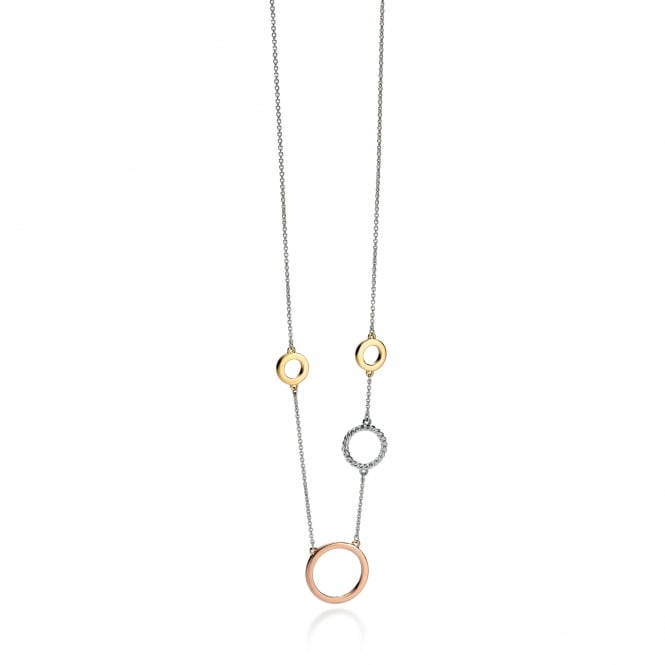 Fiorelli Silver Necklace with Rose and Yellow Plated Links N3908