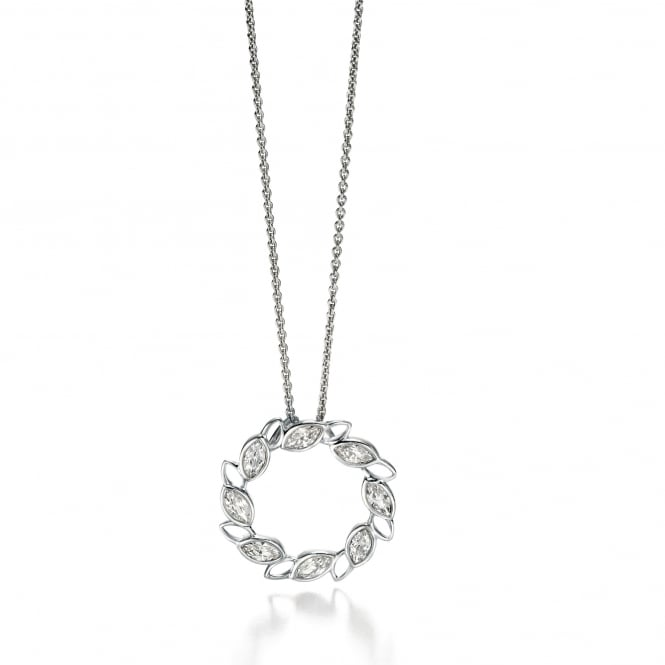 Fiorelli Silver Open Circular Pendant With Marquise Cubic Zirconia's P4317C