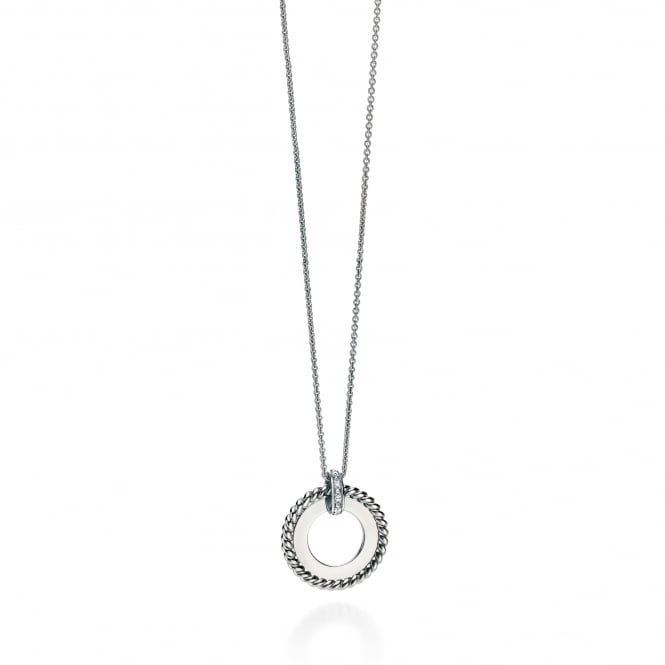 Fiorelli Silver Open Disc Cubic Zirconia Necklace P4236C