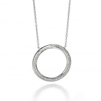 Fiorelli Silver Open Round Twist Cubic Zirconia Necklace N3232C