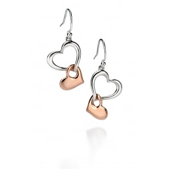Silver Rose Plated Double Heart Drop Earrings E4861