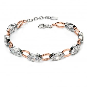 Fiorelli Silver Rose Plated Rub Over Marquise Bracelet