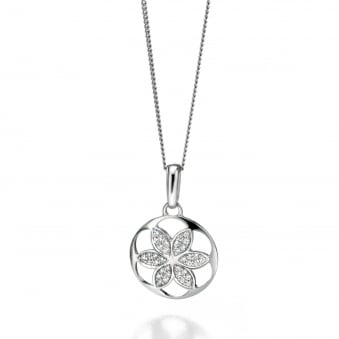 Fiorelli Silver Round Open Flower Design Necklace P4116C