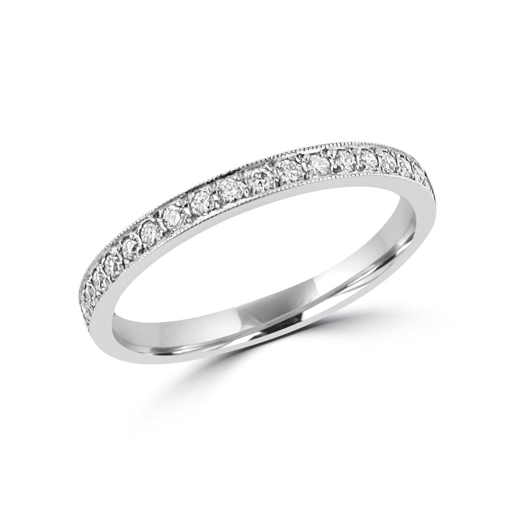 Full Set Platinum Diamond Band Ring RPW30205