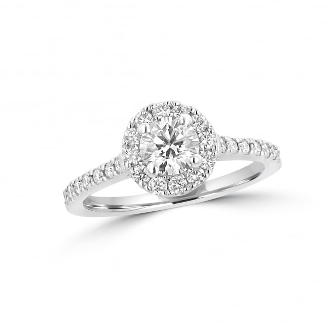 GIA Certified 0.47ct Round Diamond Halo Ring RPN37199