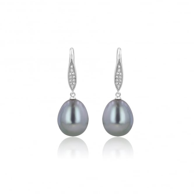 Grey Cultured Pearl and Diamond Drop Earrings in White Gold