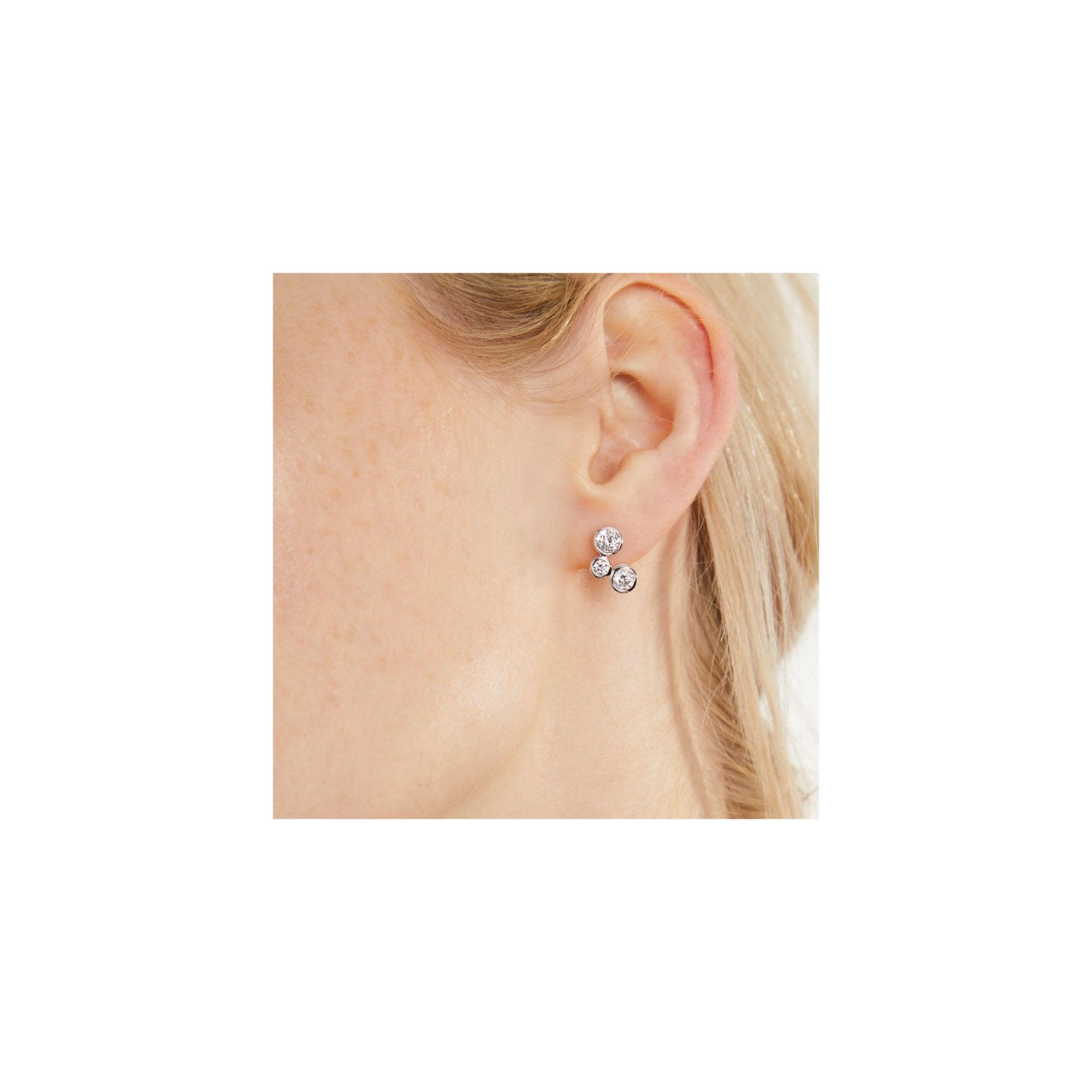 Jools By Jenny Brown Silver And Cubic Zirconia Bubble Raindance Stud Earrings Kpe1628 Silver From Avanti Of Ashbourne Ltd Uk