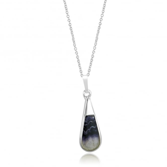 Long Teardrop Silver Blue John Pendant and Chain PS1430 + CS3056