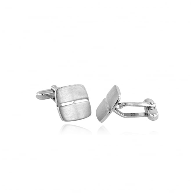 Matt Silver Cushion Shape Cufflinks AS3270