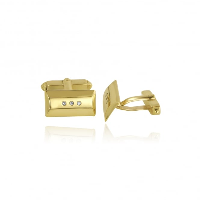 Mens 9ct Gold and Diamond Cufflinks and Tie Pin Set