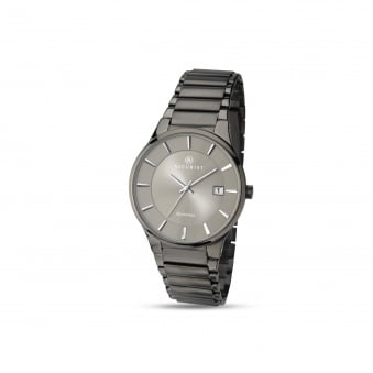 Mens Accurist Gun metal Grey Steel Watch 7009