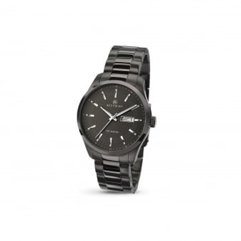 Mens Accurist Gun metal Grey Steel Watch With Day Date 7058