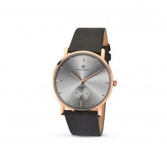 Mens Accurist Rose Plated Watch With Grey Dial 7127