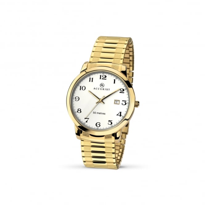 Accurist Mens Gold Plated Watch With Expanding Strap 7081