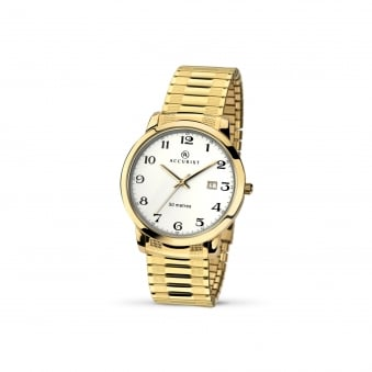 Mens Gold Plated Accurist Watch With Expanding Strap 7081