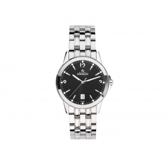 Mens Michel Herbelin Ambassador Steel Watch With black Dial 12250/B14