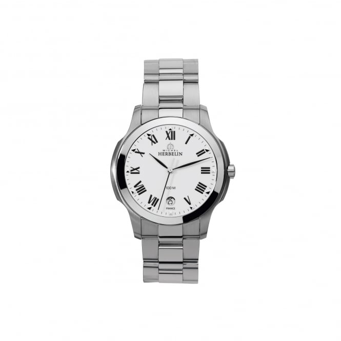 Michel Herbelin Mens Ambassador Steel Watch With White Dial 12239/B01