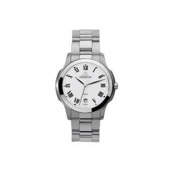 Mens Michel Herbelin Ambassador Steel Watch With White Dial 12239/B01