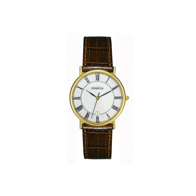 Michel Herbelin Mens Gold Plated Watch With Brown Leather Strap 12443/P08GO