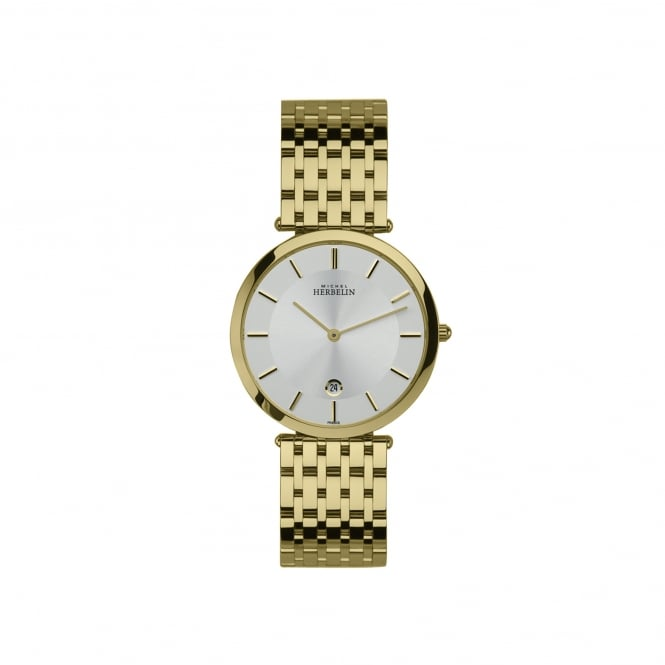 Michel Herbelin Mens Gold Plated Watch With White Face 414/BP11
