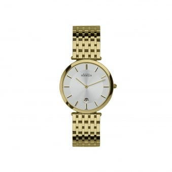Mens Michel Herbelin Gold Plated Watch With White Face 414/BP11