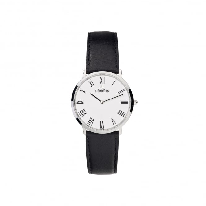 Michel Herbelin Mens Steel Ikone Watch With Black Leather Strap and White Dial 17415/01