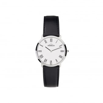 Mens Michel Herbelin Steel Ikone Watch With Black Leather Strap and White Dial 17415/01