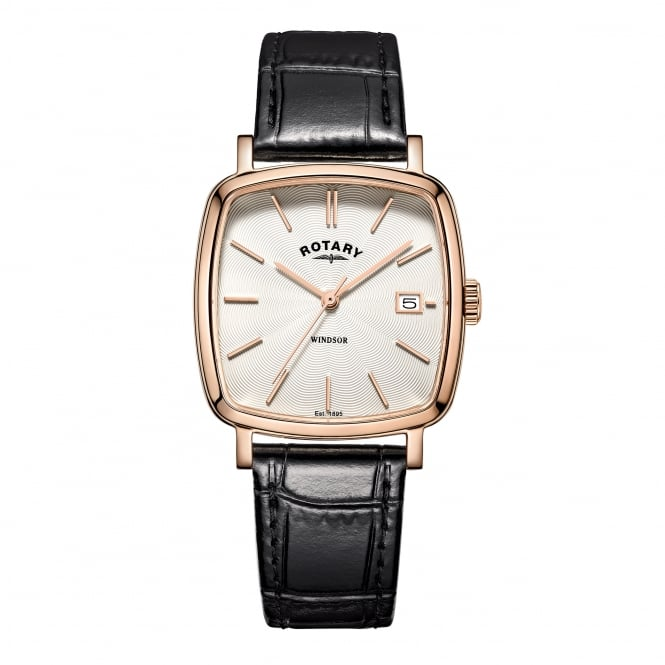 Rotary Mens Rose Plated Watch on a Leather Strap