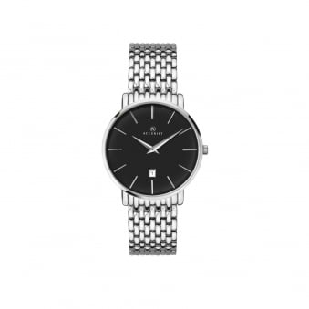 Mens Steel Accurist Watch With Black Face 7158