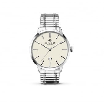 Mens Steel Accurist Watch With Expanding Strap 7134